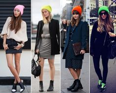 Hats off to these bright colored #beanies.   #streetstyle