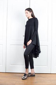 Black Top With Flare Back Asymmetrical Tunic Top Chiffon Long Sleeve Tunic, Size Clothing, Plus Size Outfits, Black Tops, Chiffon Tops, Flare, Normcore, Ruffle Blouse, Tunic Tops