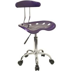 Flash Furniture Computer Task Chair with Tractor Seat and Chrome Base Violet - Coaster Furniture, Fine Furniture, Quality Furniture, Contemporary Furniture, Cheap Office Chairs, Home Office Chairs, Office Decor, Tractor Seats