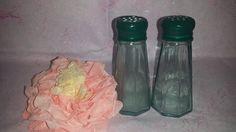 $8--Vintage Green Glass Diner Style Salt and Pepper Shakers by Gemco * Vintage Green Glass Shakers by JunkYardBlonde on Etsy