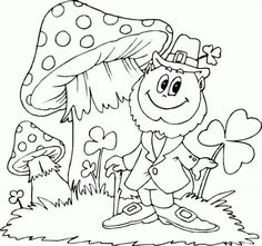 saint patricks day coloring pages guy with mushrooms