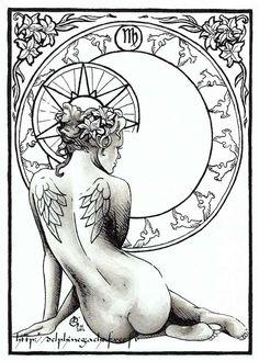 SciFi and Fantasy Art Astro Virgo by Delphine Gache… Art Virgo, Virgo Sign, Zodiac Art, Virgo Zodiac, Astrology Signs, Zodiac Signs, Astrological Sign, Sagittarius, Signo Virgo