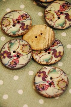 3 x lacquered coconut buttons on Etsy, £10.00