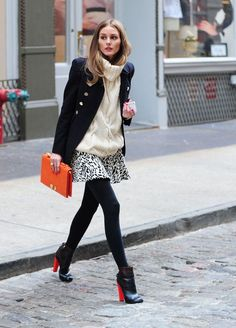 Short skirt + Oversize sweaters  olivia palermo mini skater skirt  Olivia Palermo with an oversize turtleneck and a classic straight marin coat that blur her upper body while giving her a cool style. With such a top, she can go for a mini skirt and high heels. Note how she went for the most opaque tights on the market.