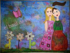 cuadro realizado con bandejas desechables,cucharas plasticas, pedazos de lija, patas de unas gafas viejas, servilletas de colores y pinturas acrilicas.