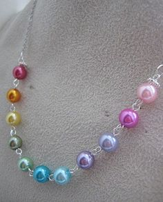 Rainbow glass pearl necklace.. $18.50, via Etsy.