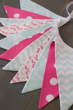 Pink & Mint Aqua Teal Flamingo Fabric Bunting Pennant Banner Girl's Room, Nursery, Baby Shower, First Birthday Party, Playroom or Photo Prop by MsRogersNeighborhood on Etsy https://www.etsy.com/listing/233717325/pink-aqua-teal-flamingo-fabric-bunting