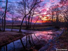 Cades Cove Sunset and Sparks Lane Reflection, Great Smoky Mountains National Park -- by J & G Photos via Blue Ridge Country