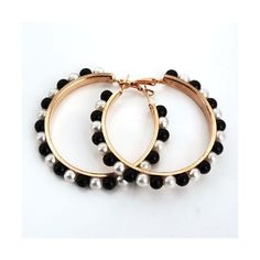 Zinc Alloy Hoop Earring, with Plastic Pearl, stainless steel post pin,... (5.89 HKD) via Polyvore featuring jewelry and earrings