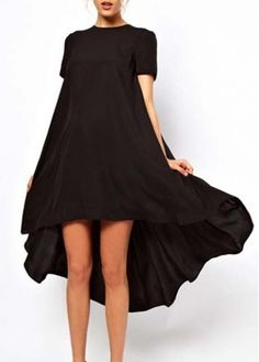 Loose High Low Hem Black Short Sleeve Dress