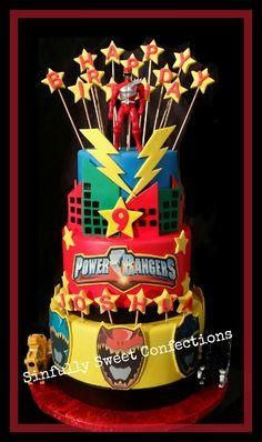 Power Rangers Birthday Cake Tortas Power Rangers, Bolo Power Rangers, Power Rangers Birthday Cake, Power Ranger Cake, Power Ranger Party, Pawer Rangers, Power Rangers Dino, Harry Birthday, 10th Birthday Parties