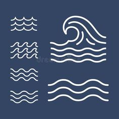 Ocean, Sea Waves Flat Simple Lines, Icons Stock Vector - Illustration of element, line: 143173166 Ocean Illustration, Simple Illustration, Waves Symbol, Sea Logo, Wave Drawing, Waves Icon, Waves Line, Waves Vector, Simple Icon