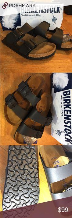 Birkenstock--Arizona soft foot bed Brand new Birkenstock sandals with black leather and black metal buckle. Birkenstock Shoes Sandals