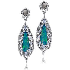 Sutra Opal, Sapphire and Diamond Feather Oxidized Drop Earring