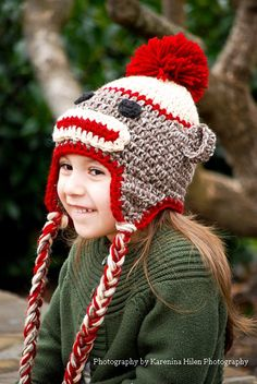 #sockmonkeyhat #crochet sock monkey -Sock Monkey Hat with Earflaps   in Red and Taupe by MunchkinHats, $26.00