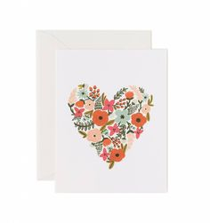 Floral Heart Available as a Single Folded Card or Boxed Set of 8