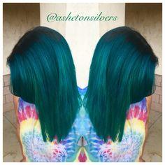 Teal hair, pravana green and blue, by Asheton Silvers