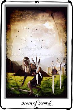 Tarot- Seven of Swords by `azurylipfe on deviantART