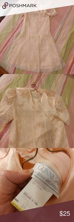 """Vintage 80s Gunne Sax lace party dress Vintage 80s Jessica McClintock Gunne Sax lace party dress, kids size 14, (measures 16"""" armpit to armpit, waist and hips), peach satin underlayer and sailor collar, cream lace overlay, drop waist, shoulder pads.  adorable girly kawaii dress.  Great condition, like new. Vintage Dresses Formal"""