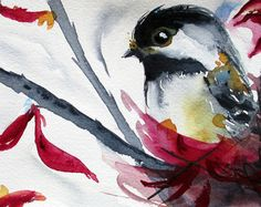 Watercolor Print of Chickadee, Original Bird Art Print $15 tq tiff 2014