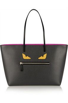 Fendi Roll appliquéd textured-leather tote | NET-A-PORTER