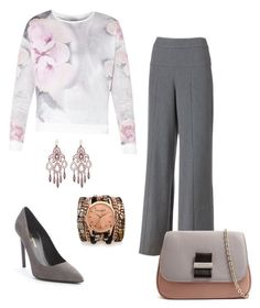 """Set gray"" by tatajrj ❤ liked on Polyvore featuring Jennifer Lopez, Yves Saint Laurent, See by Chloé, Laurent Gandini and Sara Designs"