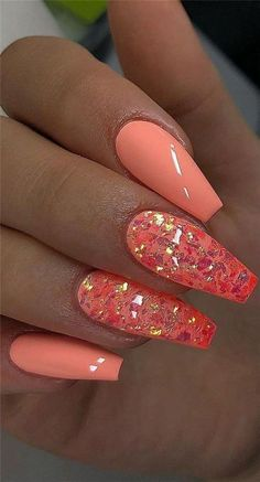 56 Cute and Cool Summer Nails Designs Ideas and Images Part 46 Cute Summer nails Summer nails Designs Summer Nail polish Summer Nail Colors Bright Summer Nails, Cute Summer Nails, Bright Orange Nails, Summer Toenails, Best Acrylic Nails, Acrylic Nails Orange, Coral Nails Glitter, Acrylic Gel, Silver Nails