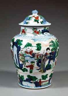 A wucai jar and cover, China, China, Qing dynasty, Kangxi period.  Kangxi (4 May 1654 – 20 Dec 1722) was the fourth emperor of the Qing Dynasty, the first to be born on Chinese soil south of the Pass (Beijing) and the second Qing emperor to rule over China proper, from 1661 to 1722. Kangxi's reign of 61 years makes him the longest-reigning Chinese emperor in history and one of the longest-reigning rulers in the world.