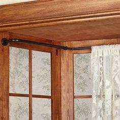 oriel bay window wraparound curtain rod set