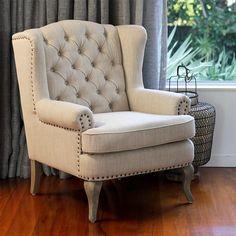 Henry Fabric Armchair Beige Importer NZ