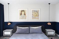 Modern and relaxed bedroom with Tom Dixon pendants | Usual House