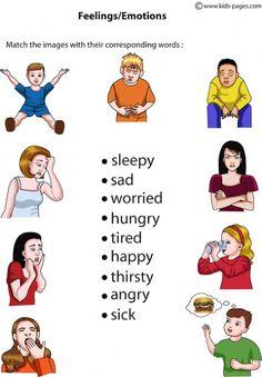 แบบฝึกภาษาอังกฤษ คำศัพท์อารมณ์ต่างๆ Feelings image: สนับสนุนคนไทยให้รักการอ่าน : ดาวน์โหลดการ์ตูน วาดภาพระบายสี หัดระบายสี English Talk, English Lessons, Education English, Free Education, Learning English, English Vocabulary, Vocabulary Words, Feelings And Emotions, English Language