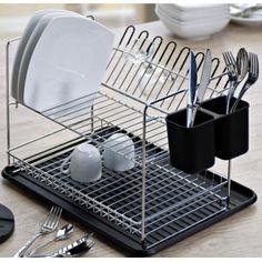 Egouttoir à vaisselle 2 étages chromé noir avec porte couverts,  Encoche pour verres à pied plateau récupérateur d'eau  Dim. 47,5 x 40 x 29 cm.    35,00 € TTC