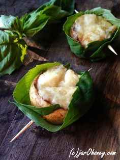Basil Wrapped Stuffed Mushrooms