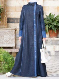 Denim Yusra Jilbab Women's Islamic Clothing on Sale Abaya Fashion, Muslim Fashion, Fashion Dresses, Denim Abaya, Modele Hijab, Abaya Designs, Muslim Dress, Islamic Clothing, Muslim Women
