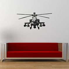 Apache Helicopter Vinyl Wall Sticker for kids big and small