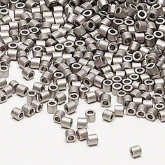 Seed bead, Delica®, glass, opaque matte nickel-finished silver, (DBL321), #8 round. Sold per 7.5-gram pkg.