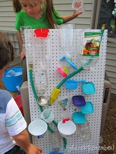 DIY Water Wall Oh, the fun you can have with a peg board and zip ties! This is like a science experiment that is just as much fun to build as it is to play with. Start saving all of those plastic containers, and have fun making your very own! I especially like the idea of cutting out pieces of an old garden hose.