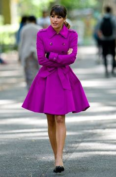 Radiant orchid color of the year and in a trench coat...love it