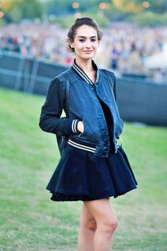 Old-school jacket and #AmericanApparel skirt spotted at #Lollapalooza 2012