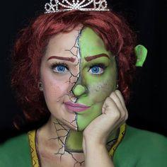 Half Human Fiona and Half Ogre Fiona from Shrek makeup Maquillage Disney Pour Halloween, Disney Halloween Makeup, Disney Makeup, Halloween Makeup Looks, Disney Inspired Makeup, Disney Character Makeup, Fx Makeup, Cosplay Makeup, Costume Makeup