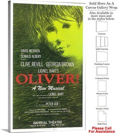 """Oliver! 1963 Famous Broadway Musical Production Canvas Wrap 18"""" x 30"""""""