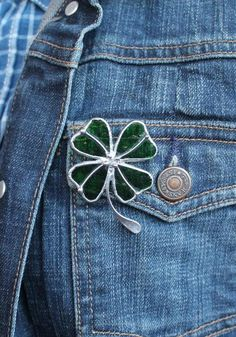 Four leaf clover brooch Green Shamrock St. Patrick's Day