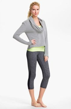 This cowl neck top works well with an oblong face.  For inverted triangles, pair it with the same color leggings to create height and balance the top/bottom proportions. Ideally, the pants will be a straight leg or boot cut. Heather gray is a cross-over color and fits this profile. Zella Top, Tank & Leggings | Nordstrom