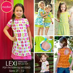 $8.99 LEXI Dress and Peplum Top by MODKID | size 2-12. YouCanMakeThis.com