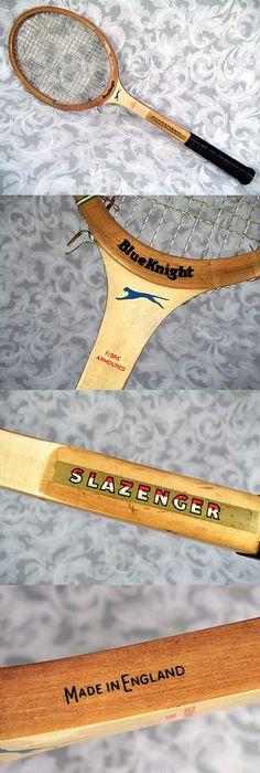 $39.99 or best offer Vtg SLAZENGER BLUE KNIGHT Fibre Armoured Wooden Tennis Racket Made in ENGLAND