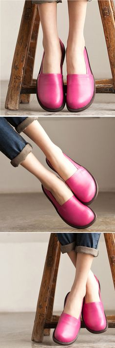 US$54.61 Socofy Leather Pure Color Casual Outdoor Soft Flat Loafers