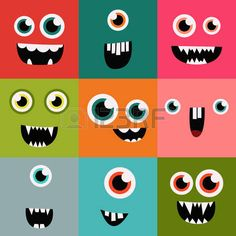 cartoon monster faces vector set. cute square avatars and icons photo