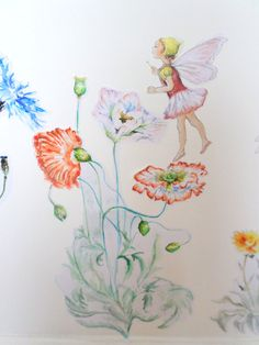 Fairy wall decal flower wall sticker girls by SmockBallpoint