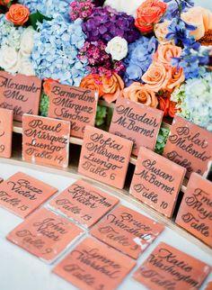 escort cards with gorgeous floral design Miami Wedding, Mod Wedding, California Wedding, Dream Wedding, Waterfront Wedding, Wedding Things, Wedding Bells, Garden Wedding, Fall Wedding